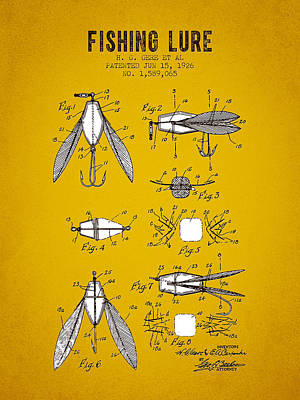 Bass Fishing Digital Art - 1926 Fishing Lure Patent - Yellow Brown by Aged Pixel