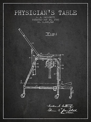 1926 Physicians Table Patent - Charcoal Print by Aged Pixel