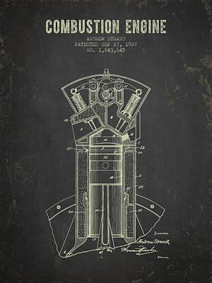 1927 Compustion Engine Patent - Dark Grunge Print by Aged Pixel