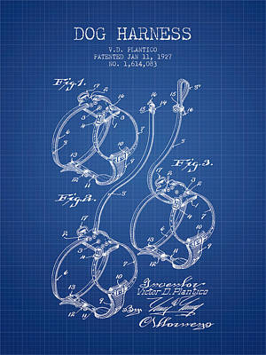Dogs Drawing - 1927 Dog Harness Patent - Blueprint by Aged Pixel