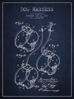 Dogs Drawing - 1927 Dog Harness Patent - Navy Blue by Aged Pixel