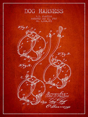 Dogs Drawing - 1927 Dog Harness Patent - Red by Aged Pixel