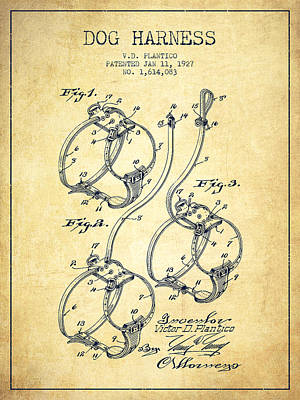 Dogs Drawing - 1927 Dog Harness Patent - Vintage by Aged Pixel