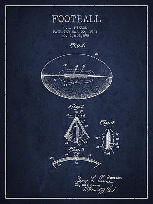 Football Art Drawing - 1927 Football Patent - Navy Blue by Aged Pixel
