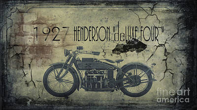 Transportation Digital Art - 1927 Henderson Vintage Motorcycle by Cinema Photography