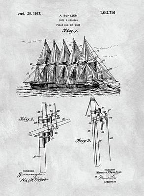 1927 Sailing Ship Patent Charcoal Print by Dan Sproul