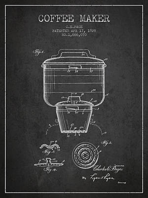 Drawing Of Lovers Drawing - 1928 Coffee Maker Patent - Charcoal by Aged Pixel
