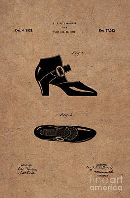 Historic Home Drawing - 1928 Mary Jane Shoes Patent 1 by Nishanth Gopinathan
