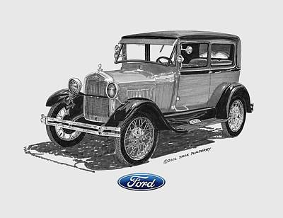 Ink Wash Drawing Painting - 1928 Model A Ford 2 Dr Sedan by Jack Pumphrey