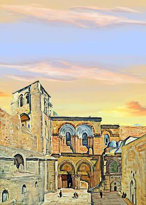 Sepulchre Painting - 1928 Sepulchre Church Painting by Munir Alawi