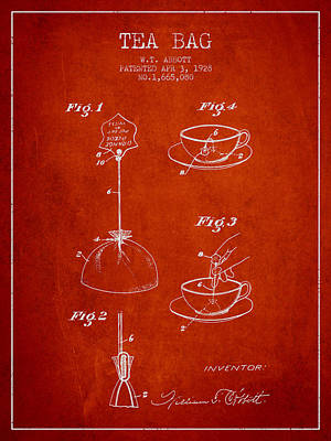 Restaurant Art Drawing - 1928 Tea Bag Patent - Red by Aged Pixel