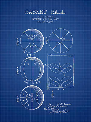 1929 Basket Ball Patent - Blueprint Print by Aged Pixel