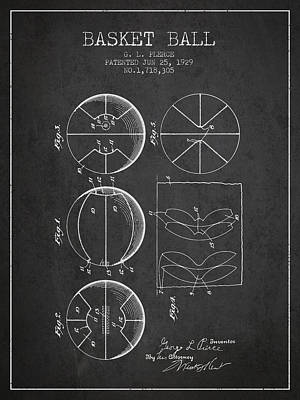 1929 Basket Ball Patent - Charcoal Print by Aged Pixel