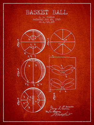 1929 Basket Ball Patent - Red Print by Aged Pixel