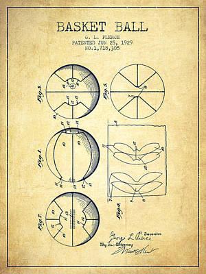 1929 Basket Ball Patent - Vintage Print by Aged Pixel