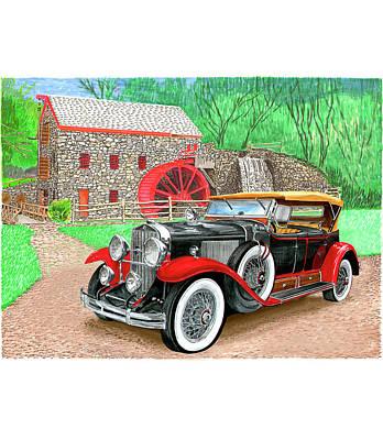 Convertible Painting - 1929 Cadillac 341b 1183b Sport Phaeton by Jack Pumphrey