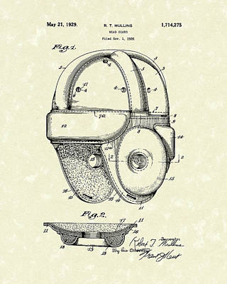 Football Art Drawing - 1929 Patent Art Vintage Helmet by Prior Art Design