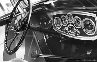 Automotive.digital Digital Art - 1929 Studebaker Interior by Uli Gonzalez