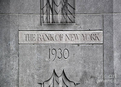 1930 Bank Of New York Sign Print by Nishanth Gopinathan