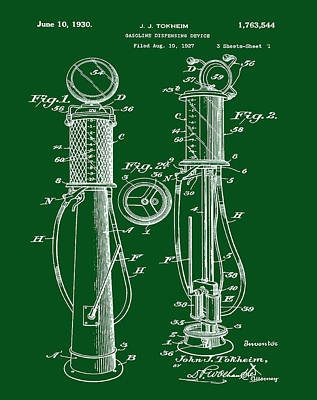 1930 Gas Pump Patent In Green Print by Bill Cannon