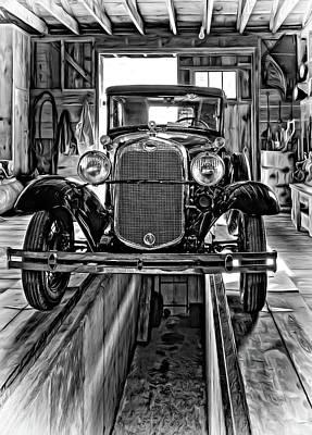 1930 Model T Ford - Vignette Print by Steve Harrington