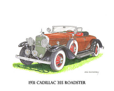 Horseless Carriages Painting - 1931 Cadillac 355 V 8 Roadster by Jack Pumphrey