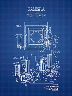 1931 Camera Patent - Blueprint Print by Aged Pixel