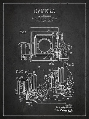 Film Camera Drawing - 1931 Camera Patent - Charcoal by Aged Pixel