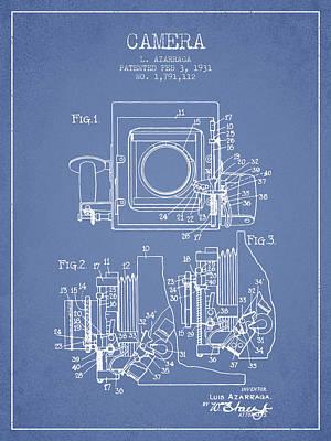 1931 Camera Patent - Light Blue Print by Aged Pixel