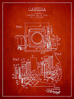 1931 Camera Patent - Red Print by Aged Pixel