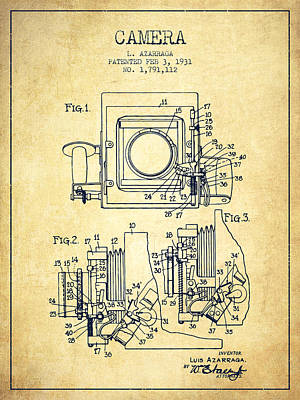 1931 Camera Patent - Vintage Print by Aged Pixel