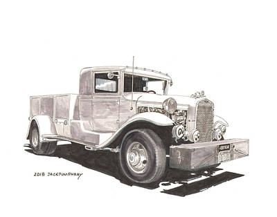 Classic Truck Drawing - 1931 Ford A A Truck by Jack Pumphrey
