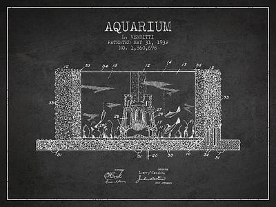 Turtle Drawing - 1932 Aquarium Patent - Charcoal by Aged Pixel