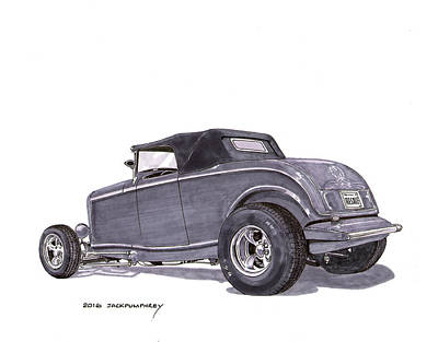 Ink Wash Drawing Painting - 1932 Ford Hot Rod by Jack Pumphrey