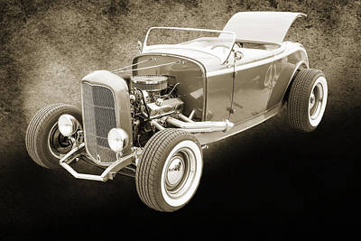 1932 Ford Roadster Sepia Posters And Prints 015.01 Print by M K  Miller