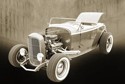1932 Ford Roadster Sepia Posters And Prints 017.01 Print by M K  Miller