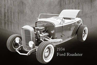 1932 Ford Roadster Sepia Posters And Prints 018.01 Print by M K  Miller