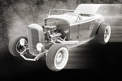 1932 Ford Roadster Sepia Posters And Prints 019.01 Print by M K  Miller
