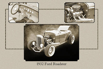 1932 Ford Roadster Sepia Posters And Prints 020.01 Print by M K  Miller