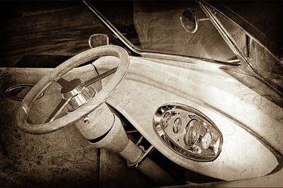 Ford Roadster Photograph - 1932 Ford Roadster Steering Wheel -0225s by Jill Reger
