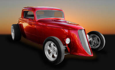 Ford Street Rod Photograph - 1933 Ford 3 Window Coupe Street Rod by Frank J Benz