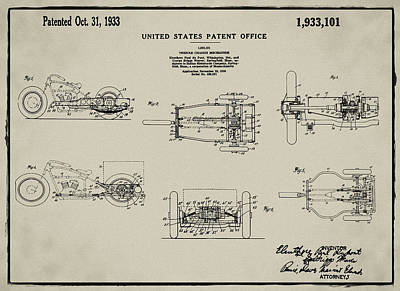 Tricycle Drawing - 1933 Indian Motor Tricycle Patent Antique Gray by Bill Cannon