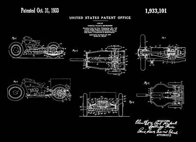 Tricycle Drawing - 1933 Indian Motor Tricycle Patent Black by Bill Cannon
