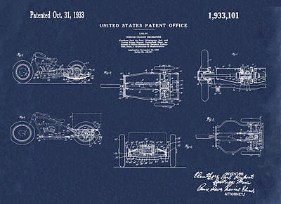Tricycle Drawing - 1933 Indian Motor Tricycle Patent Blue by Bill Cannon