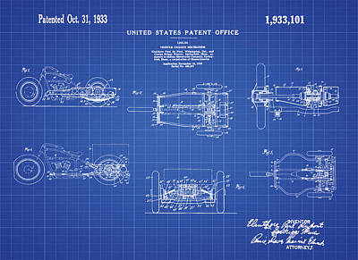 Tricycle Drawing - 1933 Indian Motor Tricycle Patent Blueprint by Bill Cannon