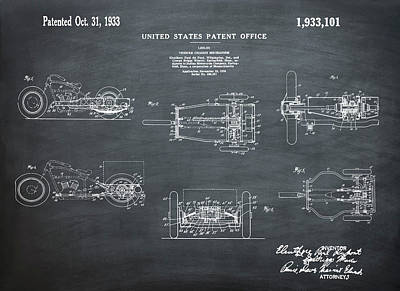 Tricycle Drawing - 1933 Indian Motor Tricycle Patent Chalk by Bill Cannon