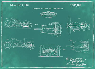 Tricycle Drawing - 1933 Indian Motor Tricycle Patent Green by Bill Cannon