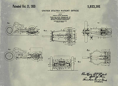 Tricycle Drawing - 1933 Indian Motor Tricycle Patent Weathered by Bill Cannon