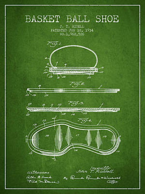 1934 Basket Ball Shoe Patent - Green Print by Aged Pixel