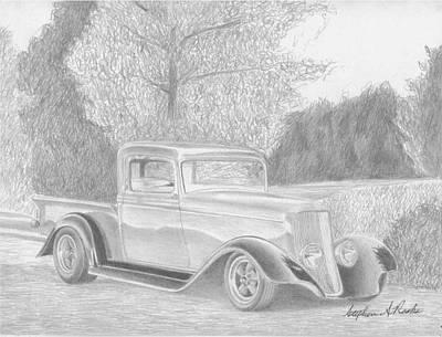 Classic Truck Drawing - 1934 Dodge Pickup Truck Art Print by Stephen Rooks